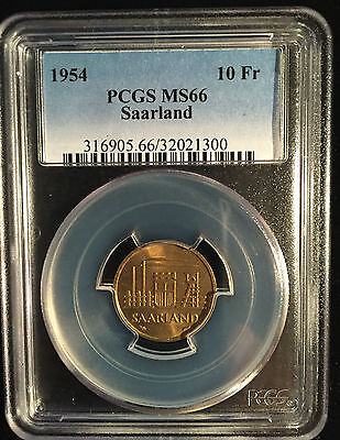 Saarland 1954 PCGS MS66 10 Fr Franken Germany France Paris Very Rare World Coin