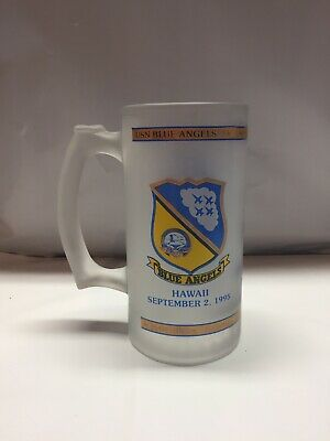 Vintage US Navy BLUE ANGELS Hawaii September 2 1995 22k Gold Frosted Glass Stein