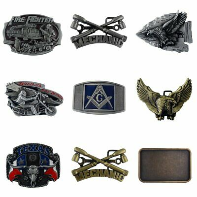 Vintage Mens Fashion Western Style Design Leather Belt Buckle Alloy Metal Cowboy