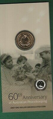 2007 60th Anniv Peacekeeping  carded $1 coin ............(M)