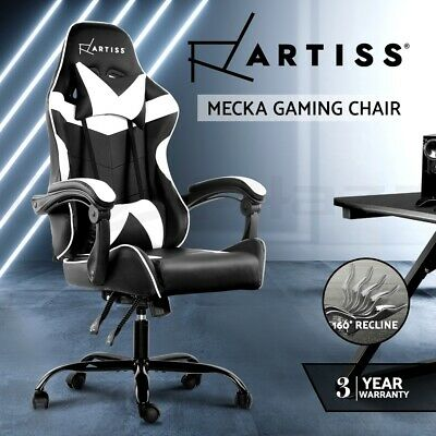 Gaming Office Chair Computer Seating Racing Recliner Racer PU Leather Black WH