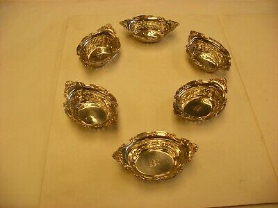 Antique Victorian Sterling Silver - Six Ornate Matching Nut Cups - Monogram