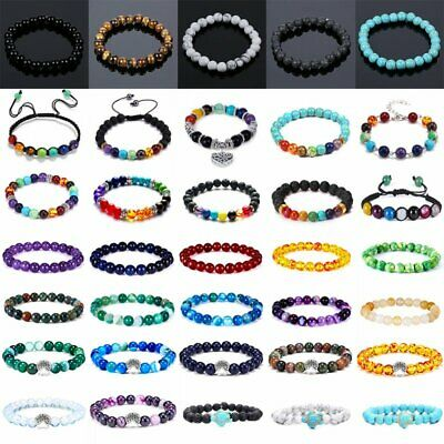 Mens Womens Natural Gemstone Beads Lava Rock Stone Bracelet 7 Chakra Jewellery