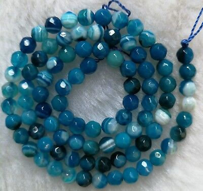 """Blue Vein Agate Faceted Round Loose Beads 4mm 6mm 8mm 10mm 12mm 14mm 14"""""""