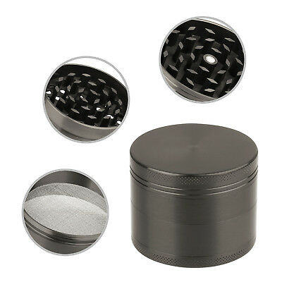 4 Piece Magnetic 2 Inch Tobacco Herb Grinder Spice Aluminum With Scoop Grey