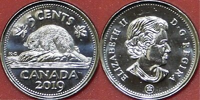 Brilliant Uncirculated 2019 Canada 5 Cents From Mint's Roll