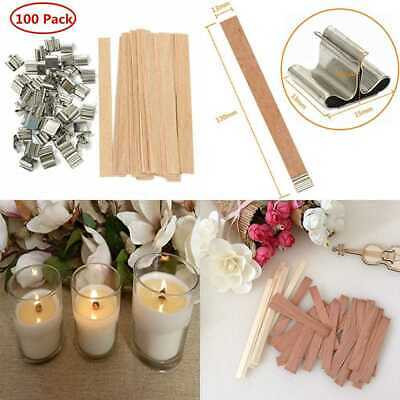 "100 PC 5"" Wood Candle Wicks For Making & DIY Pack SKINCARE Art Supplies"