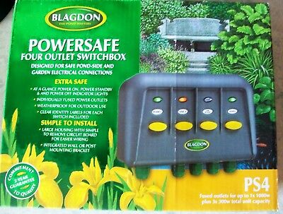 New Blagdon Ps4 Powersafe Waterproof Switchbox Garden & Pond 4 Outlets