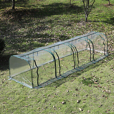 Outsunny 13' L x 3.25' W Large Transparent PVC Tunnel Greenhouse Green Grow