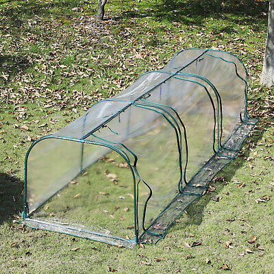 Outsunny 11.5' L x 3.25' W  Large Transparent PVC Tunnel Greenhouse Green Grow
