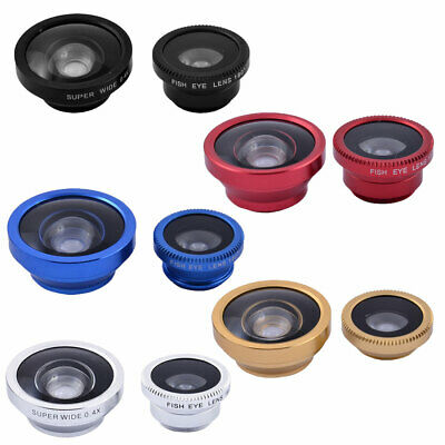 3 in 1 Phone Notebook Fish Eye Super Wide Angle Macro Clip on Camera Lens Kit