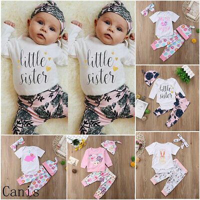 UK Floral Bunny Easter Clothes Infant Baby Boy Girl Romper+Pants+Headband Outfit