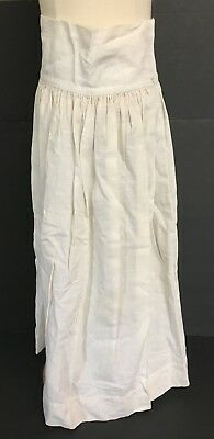 VINTAGE VICTORIAN Off WHITE & TAN COTTON GIRL'S LONG PETTICOAT SKIRT