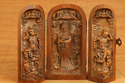 chinese old antique boxwood hand carved kwan-yin statue netsuke ornament