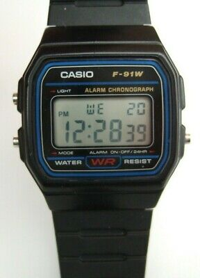 Casio 593 F-91W Vintage Retro Watch Alarm Chronograph With Black Resin Strap