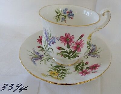 PARAGON England China Cup & Saucer ENGLISH FLOWERS blue flower in cup