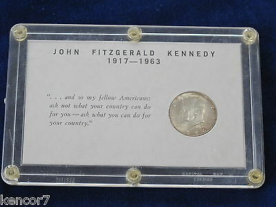 1964-D Kennedy Silver Half Dollar BU in Custom Capital Lucite E1362