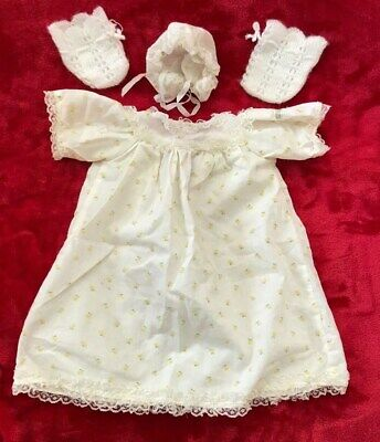 Cabbage Patch Kids Baby Doll Clothes OUTFIT PREEMIE DRESS BONNET Flower Vintage
