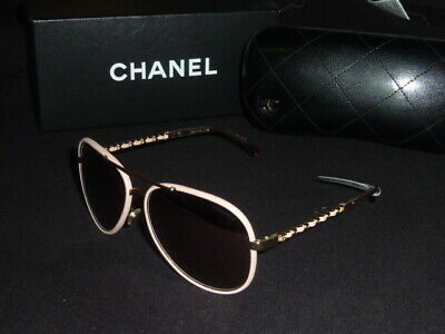229692a5ece75 CHANEL Aviator Sunglasses 4219-Q 5 395 5R Gold   Pink Leather New Display