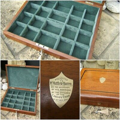 Lovely Large 19C Mahogany Antique Pocket Watch/Jewellery Box  Fab Interior