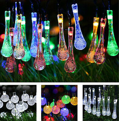 LED Solar Power Fairy String Lights Crystal Ball Raindrop Outdoor Xmas Party