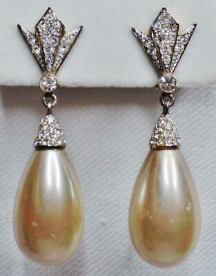 Airoldi Italy Deco Glam Sterling Vermeil Gold Plate Crystal Pearl Drop Earrings