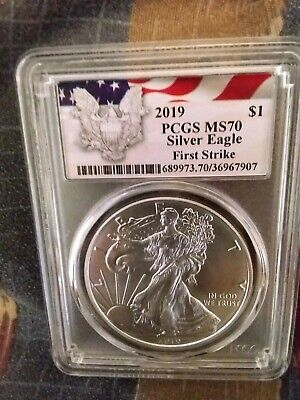 2019 1oz Silver Eagle PCGS MS70 First Strike Eagle with Flag Label
