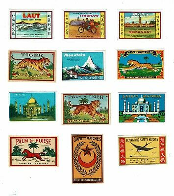 12 Old Malaya c1900s matchbox labels Semangat, Trishaw & Various themes