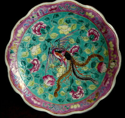 Antique Chinese Large Famille Rose Nonya ware  Dish