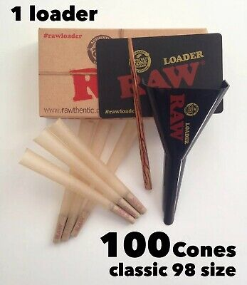 RAW Classic 98 special Size Pre-Rolled Cones (100 Pack)+raw Cone ladder