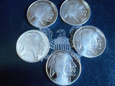 5 - 1 OZ Buffalo round's .999 fine silver  Golden State Mint  Sale