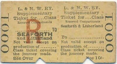 London & North Western Railway ticket 0001 - SEAFORTH to LITHERLAND to .........