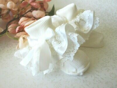 Baby Girls Cream Ivory Christening Wedding Party Frilly Socks  ** HANDMADE **