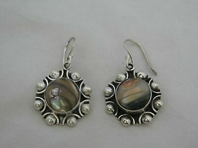 Mexico Sterling Silver & Seashell Earrings Signed CII
