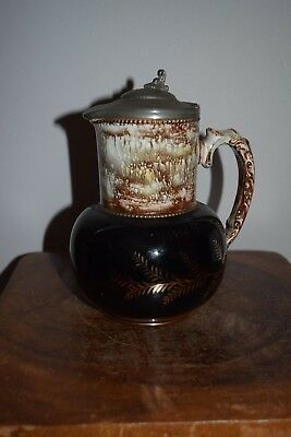 Antique Gibson Jug With Pewter Lid-Late 19Th/early 20Thc