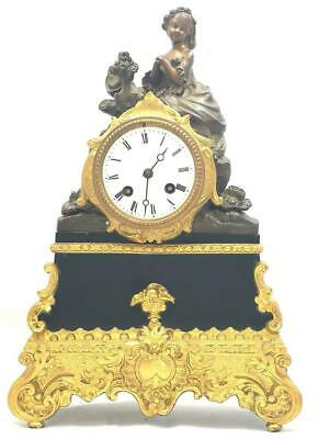 Exceptional Antique French 8 Day Gilt Metal Bell Striking Figural Mantle Clock