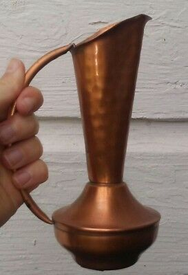 Vintage Copper Ewer Pitcher GREGORIAN Hammered Engraved USA w/ Original Sticker!