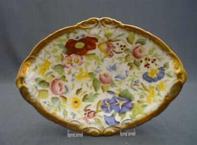 Hammersley England Queen Anne MORNING GLORY Bone China Pickle Dish Hand Painted