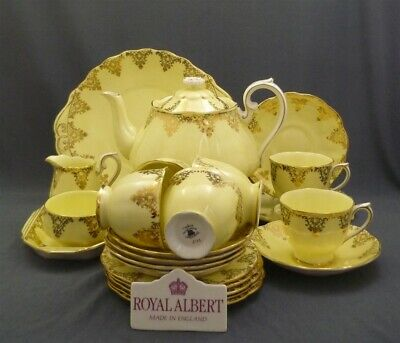 23 Piece Royal Albert England Yellow & Gold Bone China Tea Set Service For 6