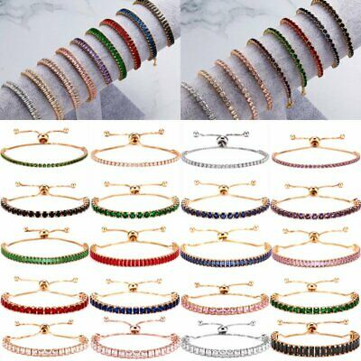 Fashion Women CZ Crystal Rhinestone Zircon Cuff Bracelet Bangle Chain Jewelry