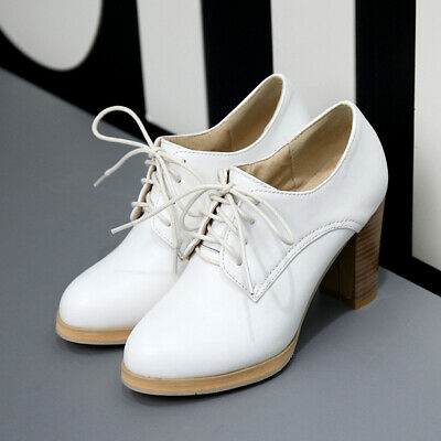 Womens Preppy Chic Girls Faux Leather Round Toe Block High Heels Lace Up Shoes