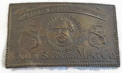 Vtg Colt Firearms Brass Belt Buckle Wyoming Studio Art Works 4 Inch Police Banks