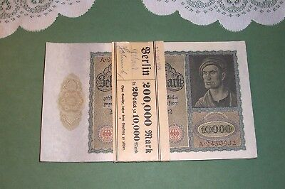 NOS 1929 German 10,000 Marks 20 Sequential Bills in Bank Band