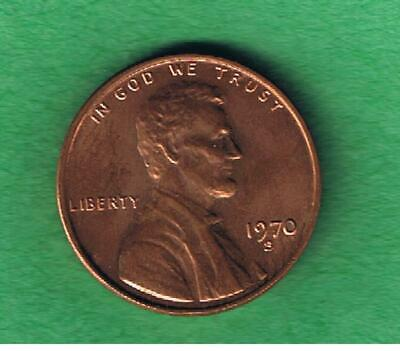 1970-S Lincoln Memorial One Cent Penny Coin Nice AU Condition