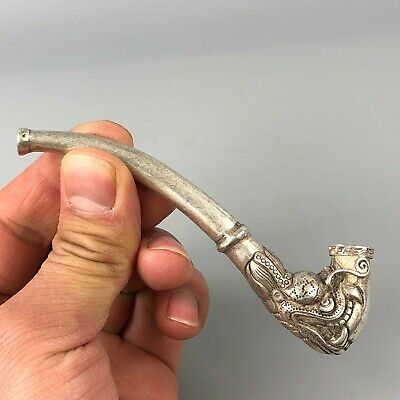 Rare Collectible Chinese Tibet Silver Handwork Dragon Old Sm0king Pipe Statue