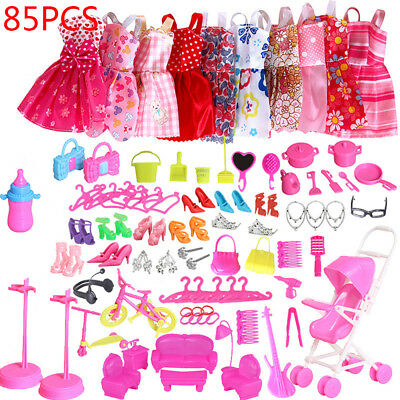 85pcs For Barbie Doll Dresses, Shoes and jewellery Clothes Set Accessories