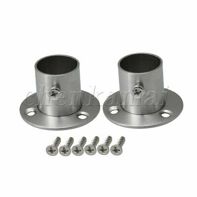 Silver Stainless Steel Closet Rod Flange Socket for 2x 22mm Silver Set of 2