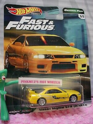 NISSAN SKYLINE GT-R (BCNR33) #5☆yellow☆2019 Hot Wheels PREMIUM B, FAST&FURIOUS