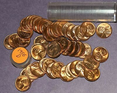 LINCOLN WHEAT ROLL 1956-D LOT OF 50 Coins