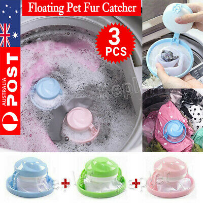 3PC Floating Pet Fur Catcher Reusable Hair Remover Tool for Washing Machine Bag
